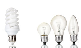 Light bulb and  energy saving lamp Royalty Free Stock Photography