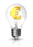 Light bulb with a euro sign. 3d light bulb with a euro sign in gold Stock Photography
