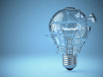 Light bulb exploding. Concept of idea. Royalty Free Stock Images