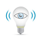 Light bulb with eye icon illustration Stock Photos
