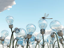 Light bulb field. 3d image Stock Photography