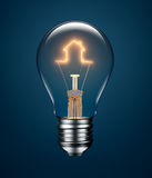 Light Bulb with Filament Forming a House Icon. On blue background Royalty Free Stock Photos