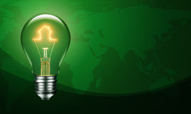 Light Bulb with Filament Forming a House Icon Royalty Free Stock Photography