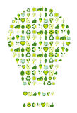 Light bulb filled with bio eco environmental icons and symbols Royalty Free Stock Photo