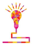 Light bulb filled with colorful shapes Royalty Free Stock Images