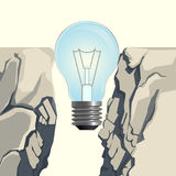 Light bulb filling rocky abyss  illustration on white. Unlit incandescent light bulb filling steep rocky abyss forming bridge over deep gap  3d vector Royalty Free Stock Photography