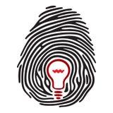 Light bulb fingerprint. Finger print with light bulb Stock Image