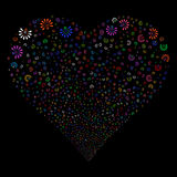 Light Bulb Fireworks Heart. Light Bulb fireworks with heart shape. Vector illustration style is flat bright multicolored iconic symbols on a black background Royalty Free Stock Images