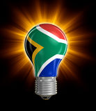 Light bulb with flag of South African republic (clipping path included) Stock Images