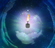 Light Bulb with Flame Stock Image