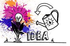 Light bulb flower and watering can over splashes Royalty Free Stock Photos