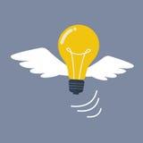 Light Bulb flying like a bird Stock Photos