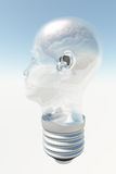 Light bulb in form of human head with brain Stock Images