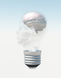 Light bulb in form of human head with brain Stock Image