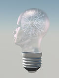 Light bulb in form of human head electric Royalty Free Stock Photos