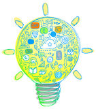 Light Bulb full of internet icons Royalty Free Stock Photography