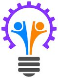 Team work logo. Light bulb and gear wheel with team work logo royalty free illustration