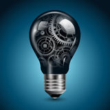 Light bulb with gears. Inside, vector Royalty Free Stock Image