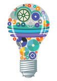 Light bulb with gears and cogs. Illustration of screw fit light bulb filled with colorful gears, circular plates  and cogs suggesting innovation and inspiration Stock Photography