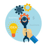 Light bulb with gears and cogs working together. Concept in flat design style. Hand with wrench. Repair icon Stock Photo