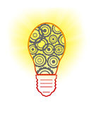 Light bulb with gears and cogs working together Stock Photography