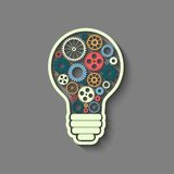 Light bulb. With gears and cogs working together, teamwork concept, retro style Stock Image
