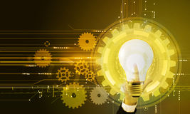 Light bulb, gears and hand sketch. Light bulb image with cogs and gears at background. Hand with finger pointing up. Concept of finding right solution for very Stock Image