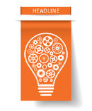 Light bulb with gears inside on orange paper tab. Vector illustration. stock illustration