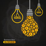 Light Bulb with Gears Pattern on Blackboard. Background. Vector Illustration. Business Idea Creative Concept. Idea Abstract Infographics Template. Chalk Texture Royalty Free Stock Photography