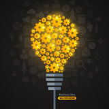 Light Bulb with Gears Pattern and Business Icons. Background. Vector Illustration. Shining Light Bulb formed by Golden Gears. Business Idea Creative Concept Royalty Free Stock Photo