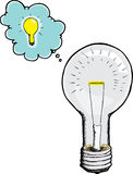 Light Bulb Gets An Idea Royalty Free Stock Image