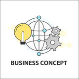 Light bulb global cog gear business concept. Icon Royalty Free Stock Photo