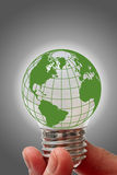Light bulb with globe Stock Photo