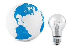 Light Bulb with Globe. Light Bulb with Earth Globe on a white background Stock Photo