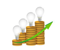Light bulb on gold coins and graph illustration Royalty Free Stock Image