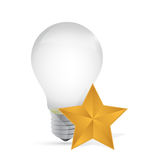 Light bulb and gold star illustration design Stock Image