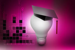 Light bulb with graduation cap Royalty Free Stock Images