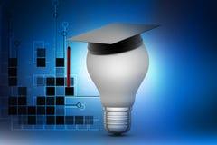 Light bulb with graduation cap Royalty Free Stock Image