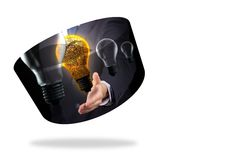 Light bulb graphic on abstract screen Royalty Free Stock Photos