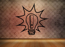 Light bulb graphic empty brown room Royalty Free Stock Image