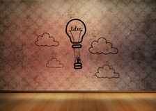 Light bulb graphic in empty brown room Royalty Free Stock Photo