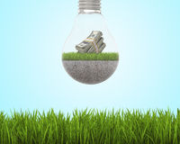 Light bulb with grass and dollars inside on sky background, bright green field around Royalty Free Stock Photography