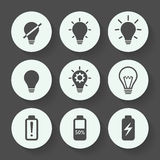 Light bulb gray icon set, flat design. Vector illustration. Light bulb gray icon set, flat design. Vector illustration Stock Photography