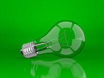 Light bulb on a green Stock Image