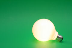 Light bulb on a green. One glowing light bulb on a green background Royalty Free Stock Image