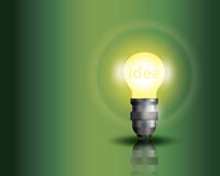 Light bulb on green background. With copy text royalty free illustration