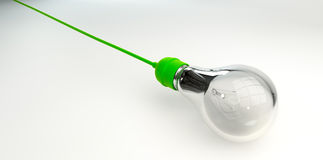 Light Bulb With Green Cord Royalty Free Stock Photo