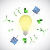 Light bulb green energy concept illustration Stock Photos