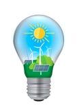 Light bulb green energy concept. Royalty Free Stock Image