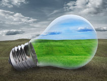 Light bulb with green field Royalty Free Stock Photography